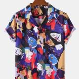 Mens Funny Cartoon Print Revere Collar Short Sleeve Casual Shirts