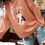 Women Cute Cat Pattern Letter Print Long Sleeve Pullover & Loose Pants Home Two Piece Pajama Set