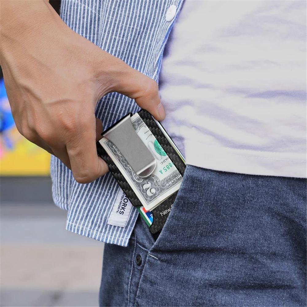New-Bring Metal Card Holder Carbon Fiber Pattern Ultra Thin Card Bag RFID Antimagnetism ID Card Cash Holder For Men