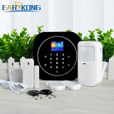 EARYKONG Wifi GSM Home Alarm System 433MHz Wireless Sensor Kit With 2 * Remote Controller / Infrared Detector / Door Window Detector / 2 * RFID Work With Tuya APP