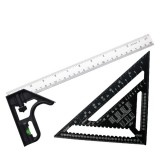 Combined Square Angle Ruler + 12 Inch Metric Aluminum Alloy Speed Square Triangle Measuring Ruler Multifunctional High-Precision Combination Square For Woodworking Tool