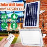 Outdoor 80/144/240LED Solar Flood Light Waterproof Garden Street Wall Lamp + Remote Control