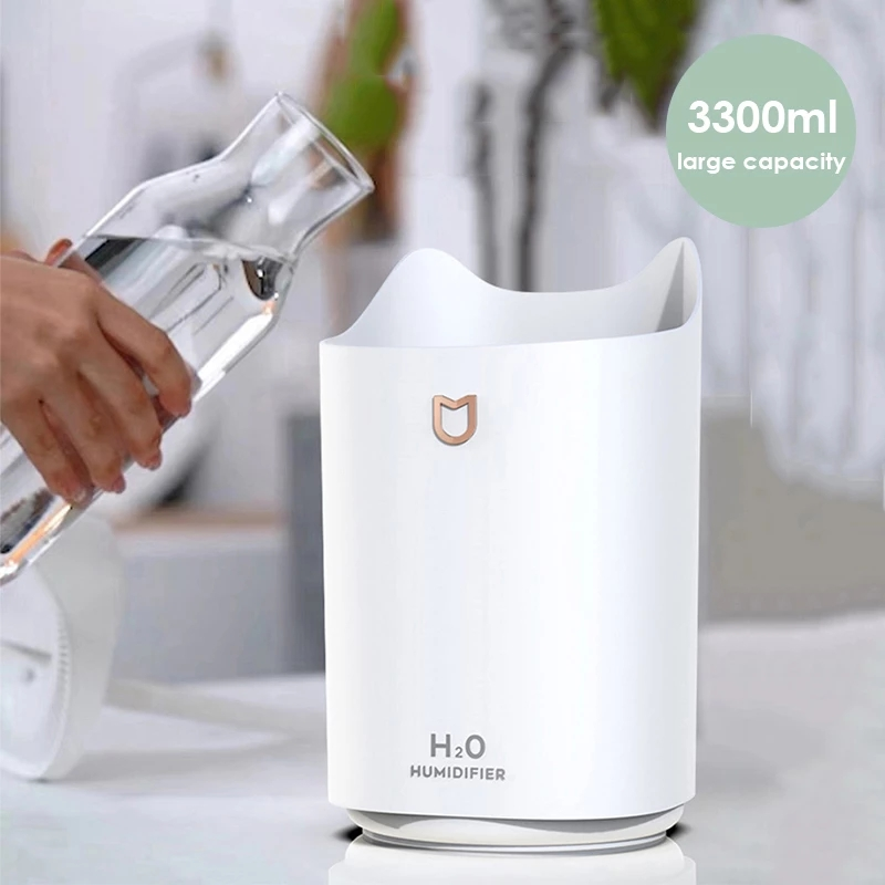 Bakeey 3000ML Cute Cat Essential Oil Aroma Diffuser USB Desktop Air Humidifier Colorful Night Light Double Sprayer Mist Maker