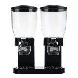 Double Cup Dry Food Dispenser Transparent Body for Cereal Grains Rice