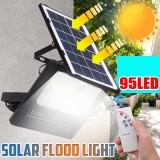 Solar Powered 95LED Street Light Outdoor Flood Lamp Garden Spotlight With Remote Control