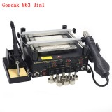 Gordak 863 3 in 1 BGA Rework Solder Hot Air Solder Station Electric Soldering iron IR Infrared Preheating Station
