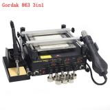 Gordak 863 3 in 1 BGA Rework Solder Hot Air Solder Station Electric Soldering iron IR Infrared Preheating Station