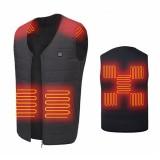 Unisex 9-Heating Zones Electric Vest Heated Jacket USB Warm Up Winter Body Racing Coat Thermal
