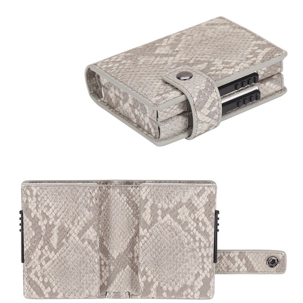 RFID Protection Card Holder PU+Aluminum Alloy Two Layer Side Popup Design Card Cash Wallet Fashion Slim Portable Wallet Indoor Outdoor