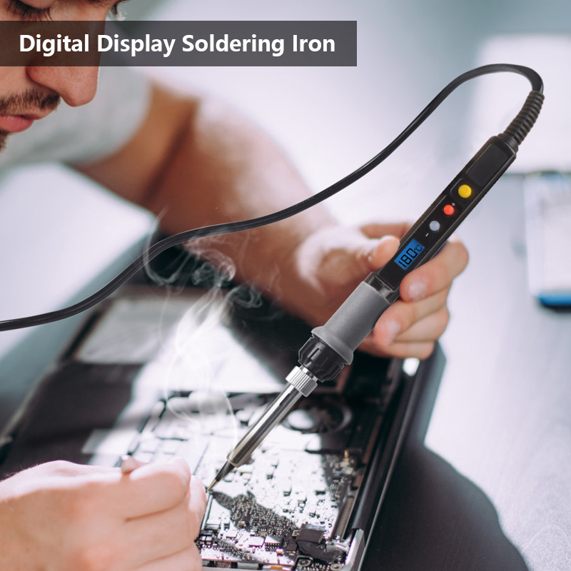 Handskit 220V 80W Digital Soldering Iron Soldering Iron Stand Soldeirng Iron Welding Tools with 5 Soldering Iron Tips