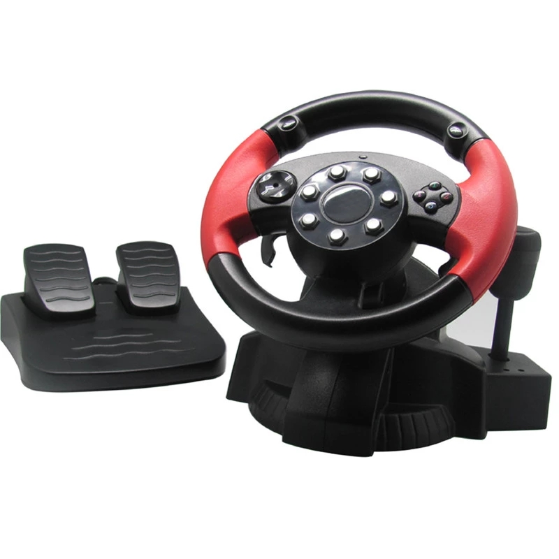 GAMEMON Racing Steering Wheel for PS3 PS2 STEAM All-in-one Wired Vibration Racing Simulator Gaming Wheels for PC Game Console Mode