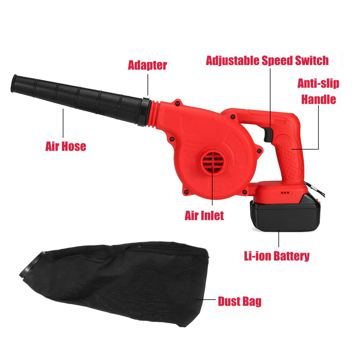 128VF 19800mAh Li-Ion Battery Electric Cordless Blower Air Leaf Dust Blower Power Tools