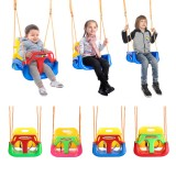 3-IN-1 Outdoor High Back Toddler Baby Swing Set Children Full Bucket Seat Swing For Outside Playground Park