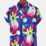 Mens Floral Print Hawaii Casual Short Sleeve Shirts With Pocket