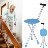 Portable FoldingCaneChair Aluminium Tripod Hiking Walking Stick With Seat Ultralight Chair Load-bearing 200Kg
