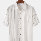 Cotton Mens Stripe Patchwork Solid Color Pocket Short Sleeve Holiday Casual Shirts