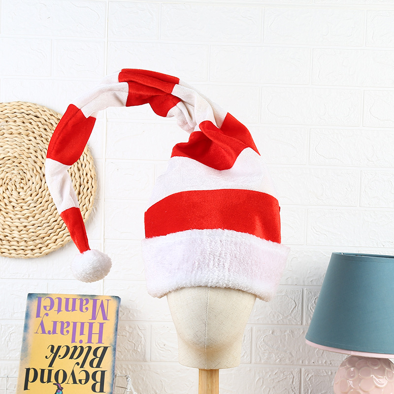 Red White Striped Christmas Cap Hat Modeling Long Elves Christmas Cap Christmas Decor for Christmas Theme Party