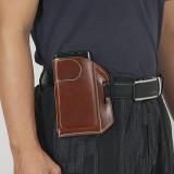 Men Genuine Leather Retro Solid Color 5.8 Inch Phone Bag Easy Carry Belt Bag Waist Bag