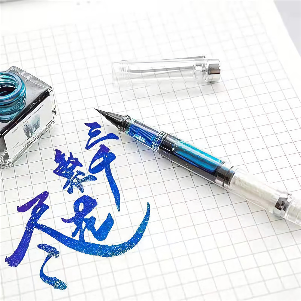 Soft Brush Pen Art Writing Ink Pen plastic Transparent White Refillable Ink Fountain Pens Stationery School Student Supplies
