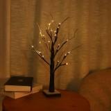45/60CM Christmas Birch Tree with 24 LED Lights Simulation Snow Christmas Tree Mini XChristmas Decorations Clearance Christmas Lights