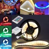 10M/15M/20M 5050 RGB Waterproof LED Strip Light DC12V+24 Key IR Remote Controller for Indoor Outdoor Garden