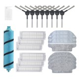 22pcs Replacements for Xiaomi Mijia STYJ02YM Viomi Vacuum Cleaner Parts Accessories Flannel Roller Brush*1 Side Brushes*8 HEPA Filters*6 Mop Cloths*6 Cleaning Tool*1