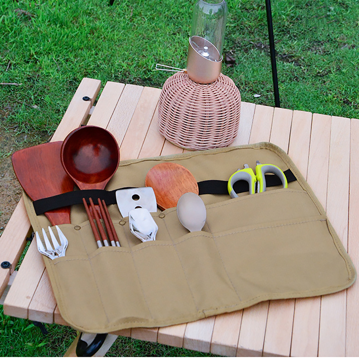 900D Oxford Cloth Tableware Storage Bag Camping Picnic BBQ Triangle/Rectangle Dinnerware Hanging Holder Bag Outdoor Organizer