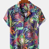 Mens Various Plants Print Chest Pocket Casual Short Sleeve Shirts With Pocket