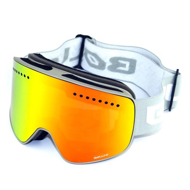 BOLLFO Magnetic Ski Goggles UV400 Double Lens Anti-fog Mountaineering Glasses Men Women Snowmobile Spectacles