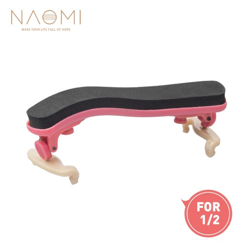 NAOMI Violin Shoulder Rest Adjustable 1/2 Violin Shoulder Rest Plastic For 1/2 Violin Pink Violin Parts Accessories