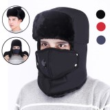 TENGOO Mens Winter Warm Full Face Hats With Face Mask Travel Scarf Anti-haze Earflap Hat For Snow Ski Winter Sport Caps