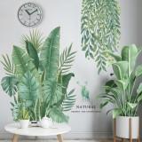 Green Leaves Wall Stickers for Bedroom Living Room Dining Room Kitchen Kids Room DIY Vinyl Wall Decals Door Murals