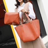 Women 2Pcs Solid Large Capacity Casual Handbag Tote Shoulder Bag