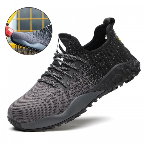 TENGOO Men Steel Toe Safety Shoes Trainers Lightweight Work Shoes Women Breathable Industrial Sneakers