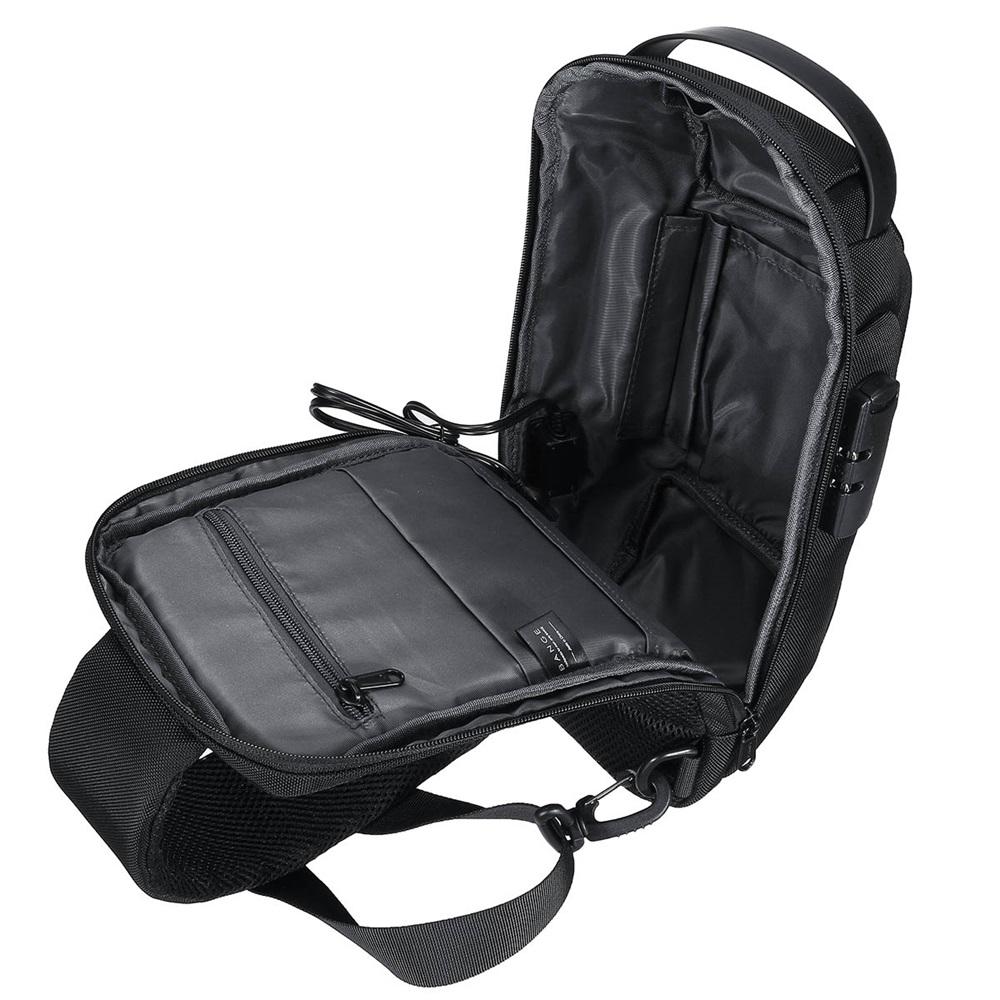 BANGE USB Charging Shoulder Crossbody Bag Large Capacity Waterproof Anti-Scratch Anti-Theft Macbook Storage Backpack Chest Bag