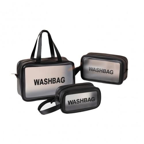 PU+PVC Make Up Bag Vanity Case Cosmetic Nail Art Toiletry Bags Transparent Wash Bag Handbag Outdoor Travel