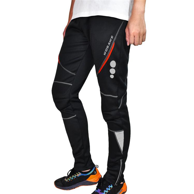 WOSAWE Winter Men MTB Pants Warm Thermal Fleece Windproof Cycling Bicycle Pants Reflective Road Bike Trousers