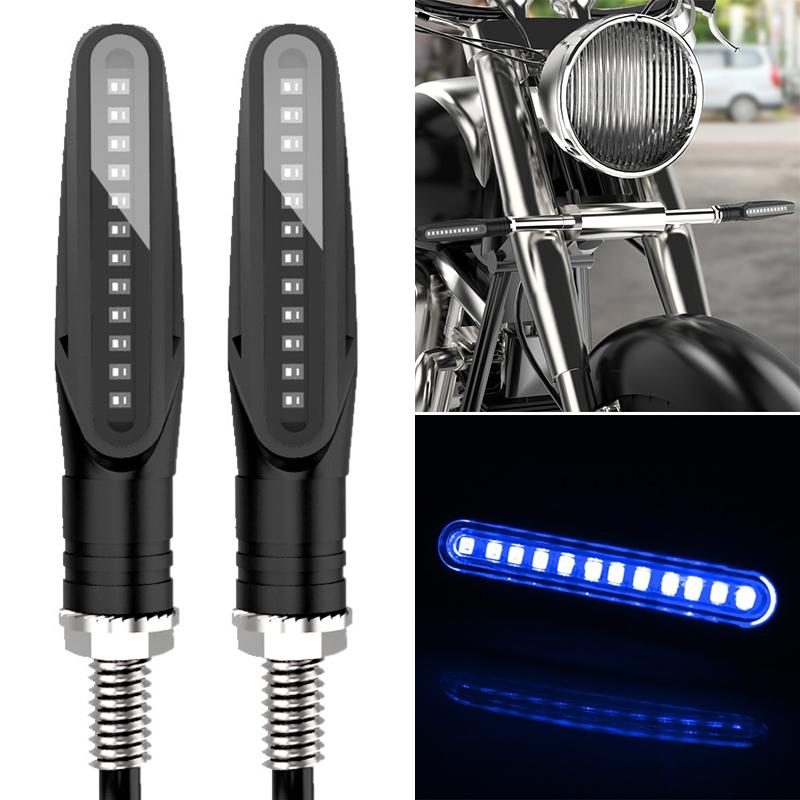 2 PCS D12V / 1W Motorcycle LED Waterproof Dynamic Blinker Side Lights Flowing Water Turn Signal Light (Blue Light)