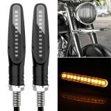 2 PCS D12V / 1W Motorcycle LED Waterproof Dynamic Blinker Side Lights Flowing Water Turn Signal Light (Yellow Light)