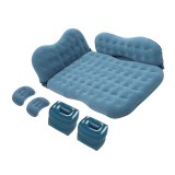 Universal Car Travel Inflatable Mattress Air Bed Camping Back Seat Couch with Head Protector + Wide Side Baffle (Grey Green)