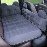 Universal Car Cartoon Travel Inflatable Mattress Air Bed Camping Back Seat Couch with Head Protector + Wide Side Baffle (Dark Gray)