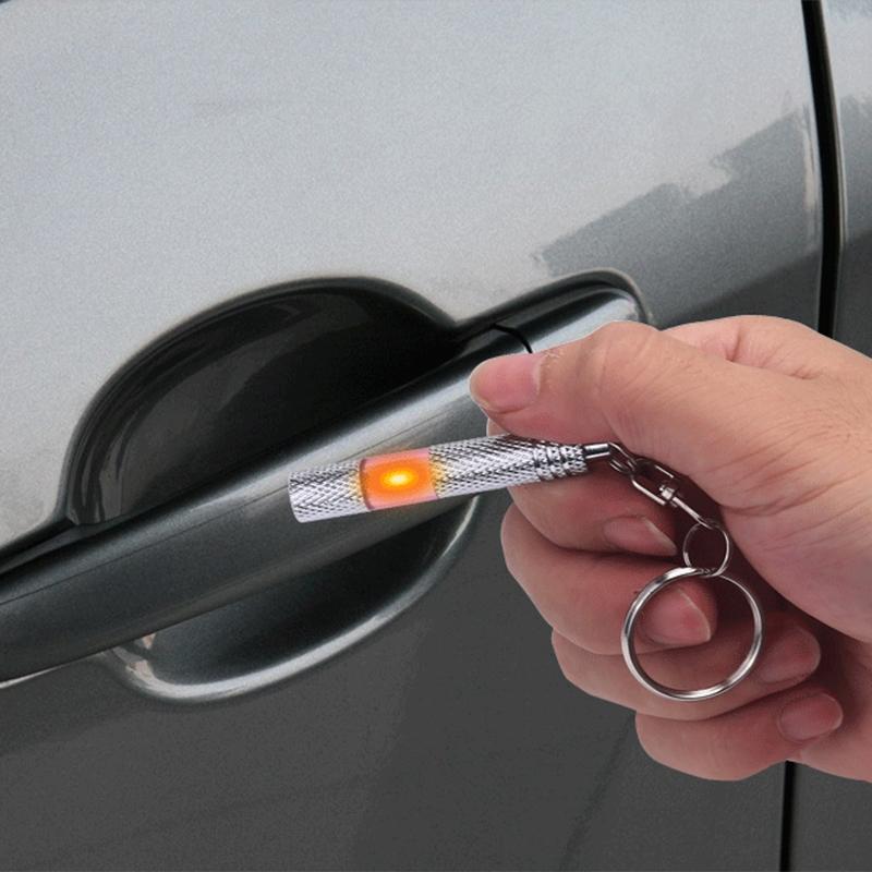 Car Copper LED Neon Lamp Anti-static Keychain Static Elimination Rod (Purple)