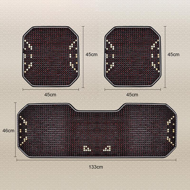 3 in 1 Summer Car Cushion Wooden Lumbar Cushion Backrest Lumbar Support Seat Mat Set (Dark Green)