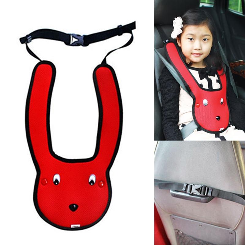 Car Child Rabbit Double Shoulder Seat Belt Adjuster (Red)
