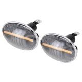 2 PCS DC12V / 3W Car LED Dynamic Blinker Side Lights Flowing Water Turn Signal Light for BMW Mini Cooper, Amber Light (Transparent)