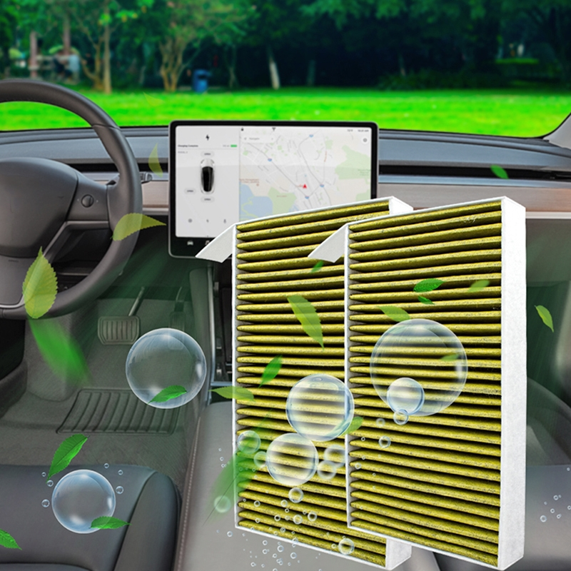 2 PCS Car Air Purifier Replacement Filter Air Conditioning Filter Activated Carbon Filter for Tesla Model 3