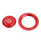 Car Engine Start Key Push Button Ring Trim Metal Sticker Decoration for Cadillac CT5 CT4 XT4 XT6 / Chevrolet Silverado (Red)