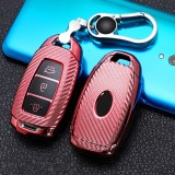 For Hyundai IX35 Smart 3-button Car TPU Key Protective Cover Key Case with Key Ring (Pink)