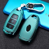 For Hyundai IX35 Smart 3-button Car TPU Key Protective Cover Key Case with Key Ring (Green)