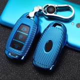 For Hyundai IX35 Smart 3-button Car TPU Key Protective Cover Key Case with Key Ring (Blue)